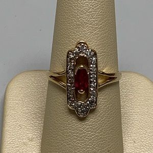Jewelry - 14K Yellow Gold Ruby and Diamond Ring Size 8